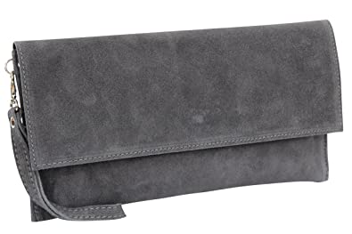 6519ce83e0 AMBRA Moda Women s genuine suede Clutch Handbag suede leather bag WL811  (Anthracite)