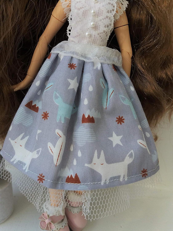 Blythe pompom skirt Blythe skirt Blythe tutu handmade skirt with animal print