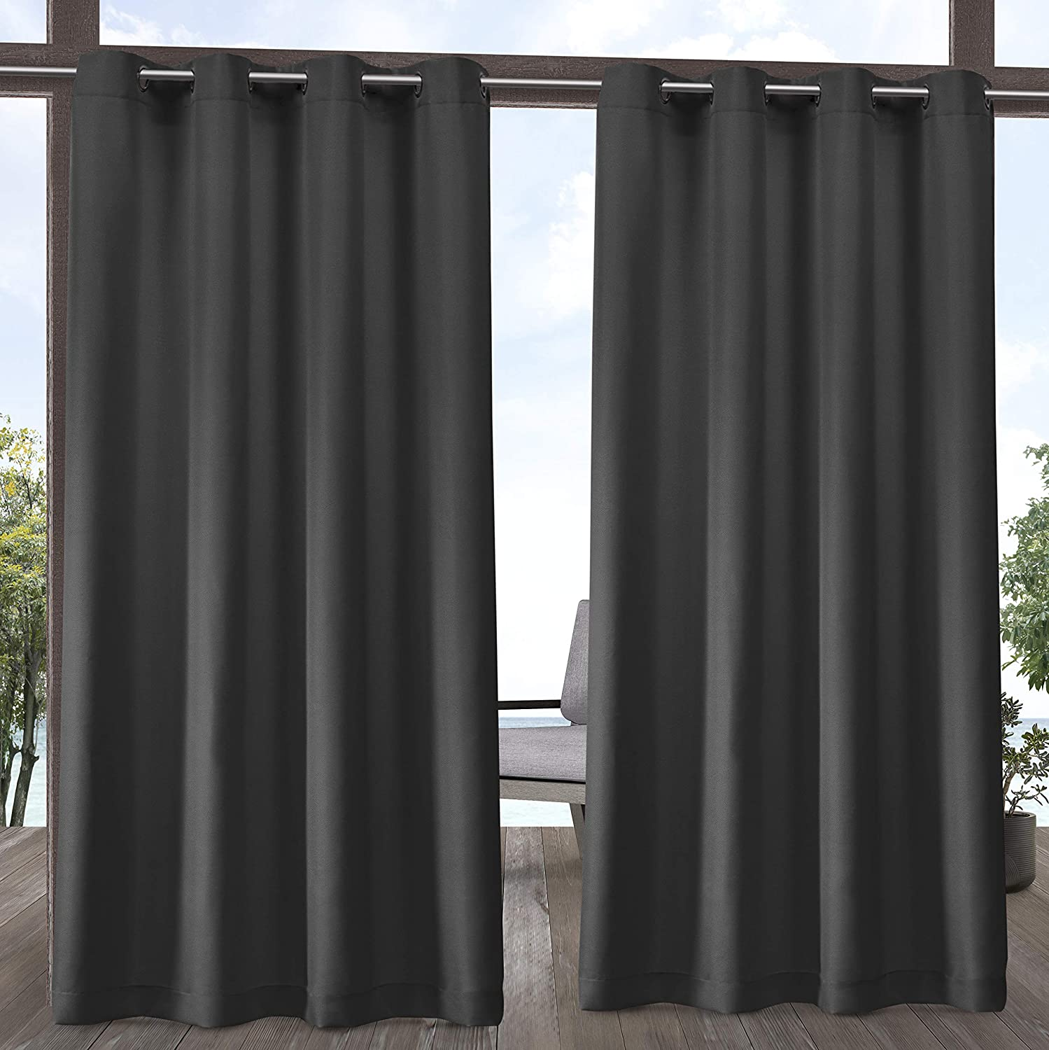 Exclusive Home Curtains Indoor/Outdoor Solid Cabana Grommet Top Curtain Panel Pair, 54x84, Charcoal