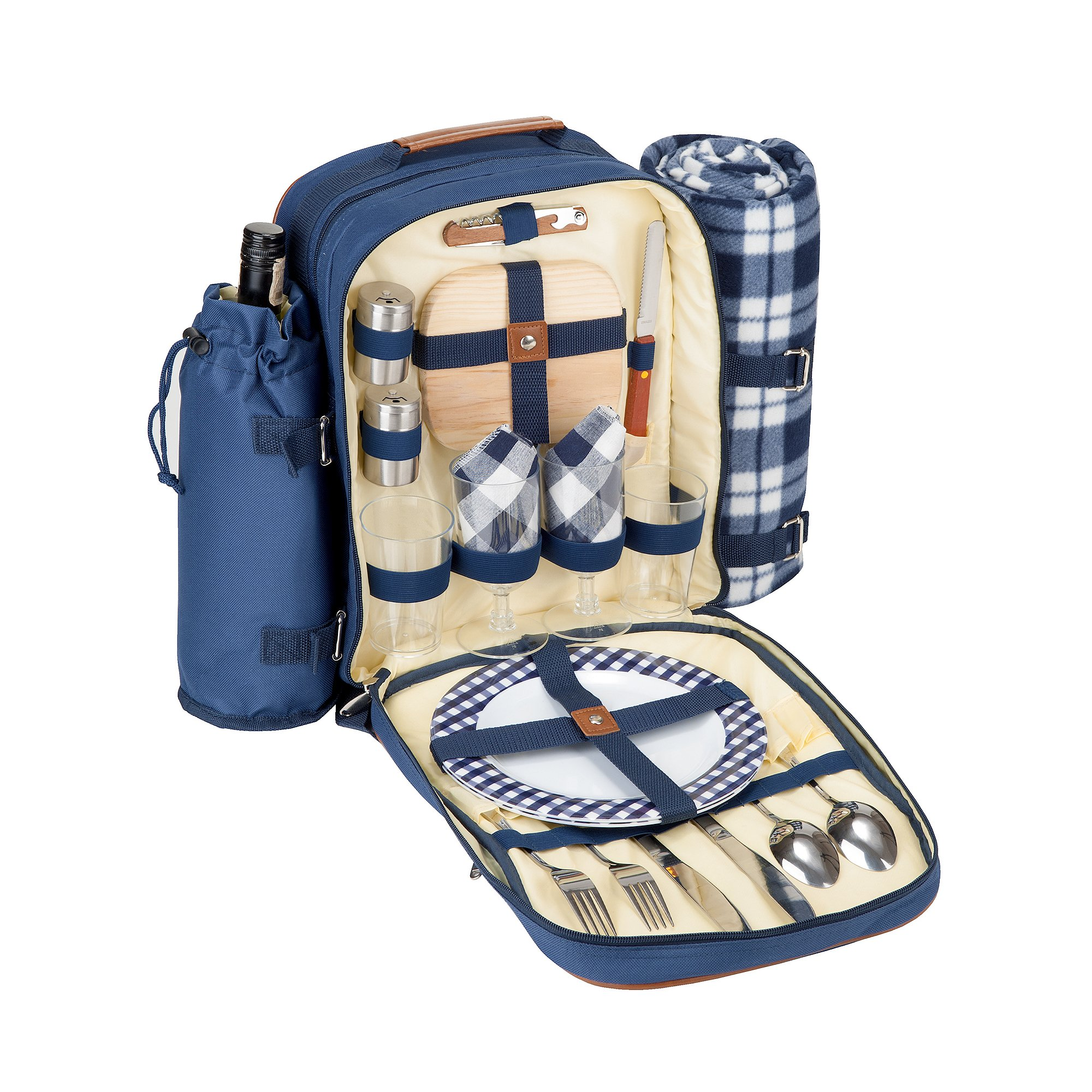 Insulated Picnic Backpack for 2 (Picnic Basket Alternative) | Cooler Compartment | Upgraded Picnic Set (Utensils, Dishes, Wine Holder, Blanket) | Food & Lunch Backpack Bag by PicniKing