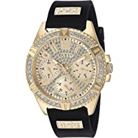 GUESS Comfortable Gold-Tone + Black Stain Resistant Silicone Watch with Day, Date + 24 Hour Military/Int'l Time. Color…
