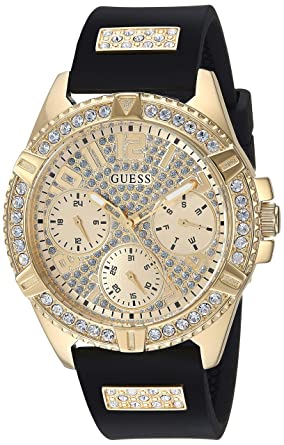 322058b48349 Amazon.com  GUESS Women s Sport Gold-Tone Silicone Watch  Watches