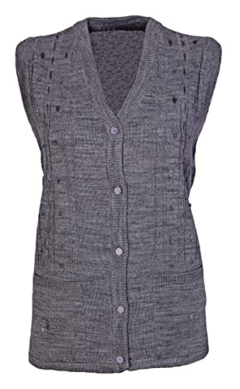 e2091a9384 Womens Sleeveless Knitted Cardigans Ladies Cable Knit Waistcoat V Neck  Button Front Pockets Embroidery Top Size 14 16 18 20  Amazon.co.uk  Clothing