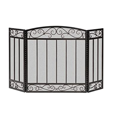 Panacea 15918 3 Panel Scroll Screen with Vertical Bars, Brushed Bronze