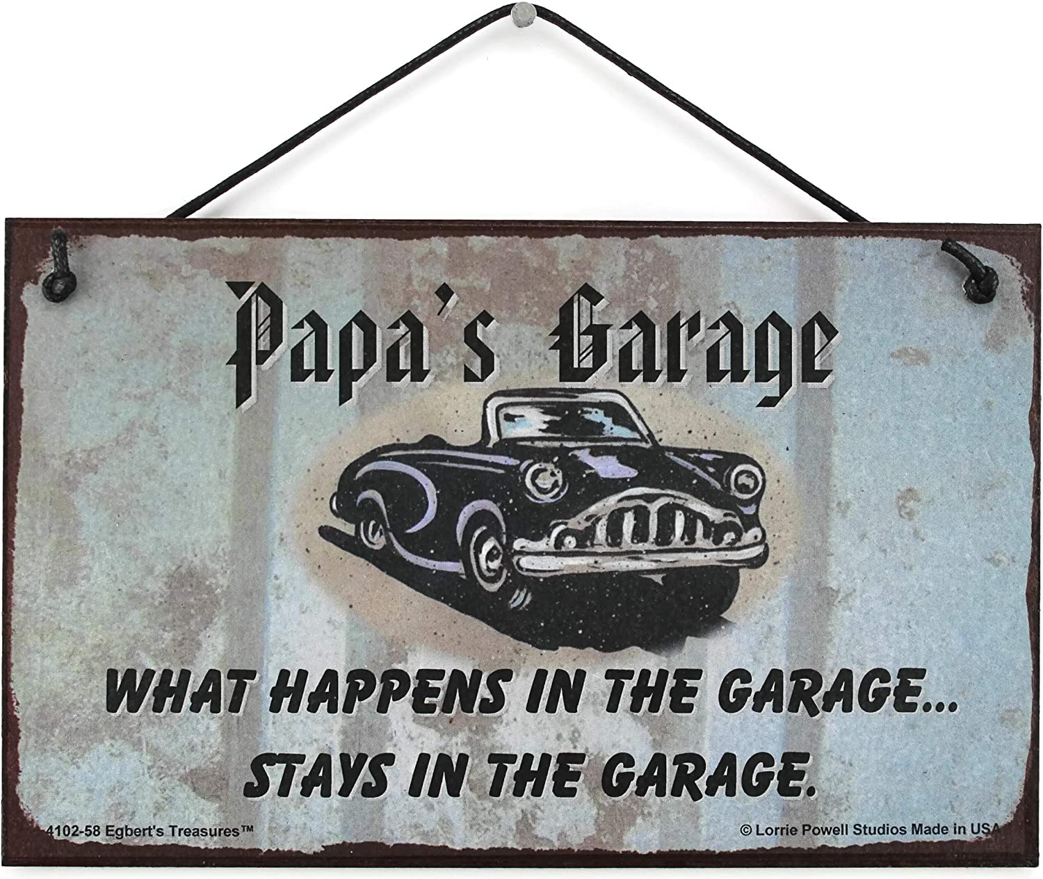 """5x8 Vintage Style Sign with Classic Car Saying """"Papa's Garage WHAT HAPPENS IN THE GARAGE... STAYS IN THE GARAGE."""" Decorative Fun Universal Household Family Signs for Grandpa (5x8)"""