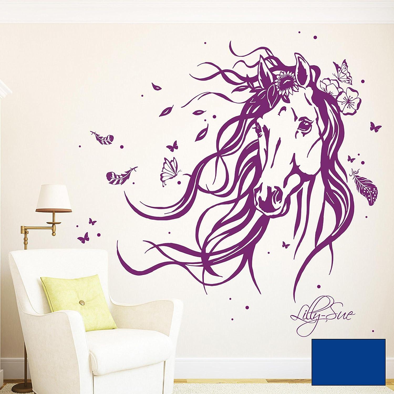 Ilka Ilka Ilka parey wandtattoo-welt® Wandtattoo Pferd Wildpferd mit Blumen Federn Schmetterlingen und Wunschnamen M1874 ausgewählte Farbe  türkis ausgewählte Größe  XXL - 140cm breit x 118cm hoch 5f62e5