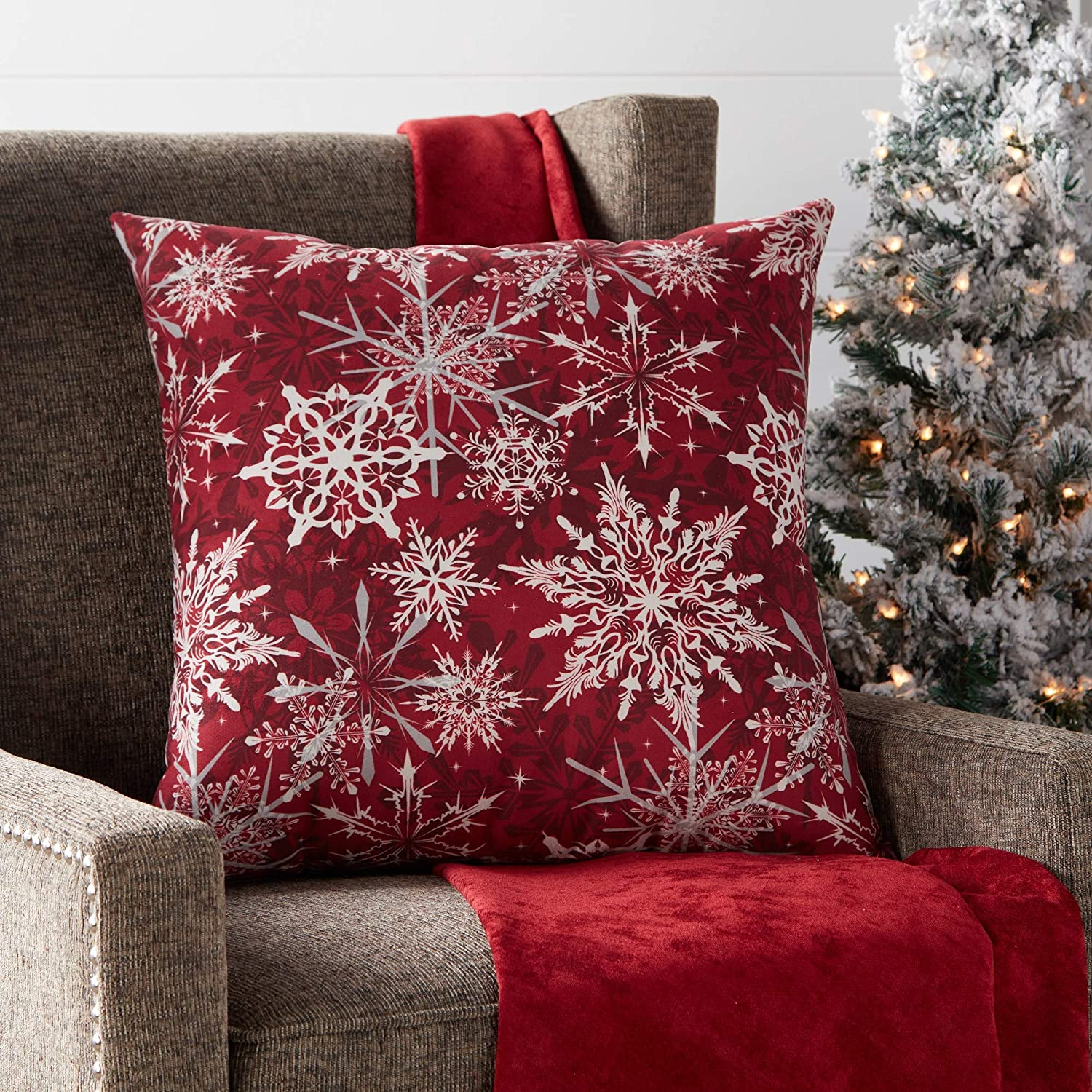"Greendale Home Fashions Snowflakes 18"" Square Holiday Throw Pillow, Red"