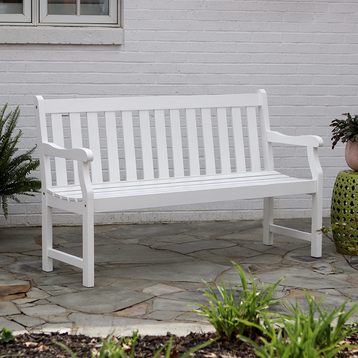 D cor Therapy FR8587 Outdoor Bench, White