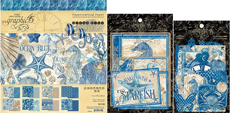 Graphic 45 Ocean Blue - 8x8 Decorative Paper Pad, Cardstock Die-cuts, Ephemera & Envelope