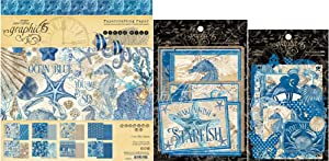 Graphic 45 Ocean Blue - 8x8 Decorative Paper Pad, Cardstock Die-cuts, Ephemera & Envelope
