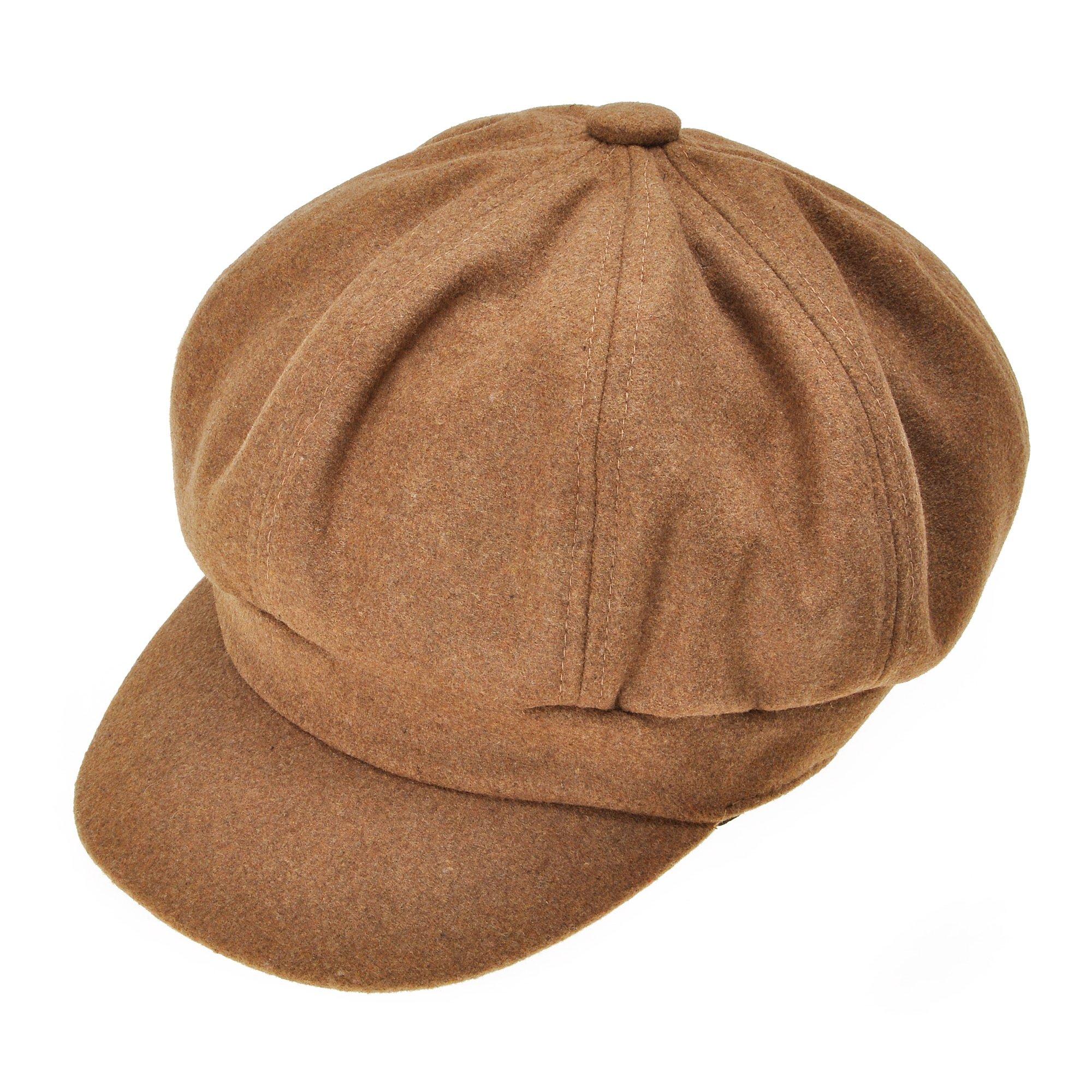 Womens Classic Newsboy Caps Visor 8 Panel Gatsby Apple Cabbie Hat, Camel