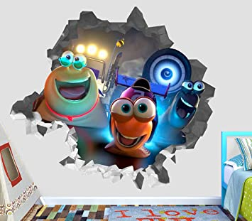 Turbo Chet White Shadow Wall Decal Smashed 3D Sticker Vinyl Decor Mural Movie Kids - Broken