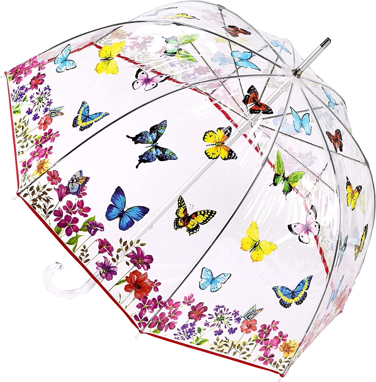 Ladies Clear umbrella with Butterfly Print Design PVC Push Button Open