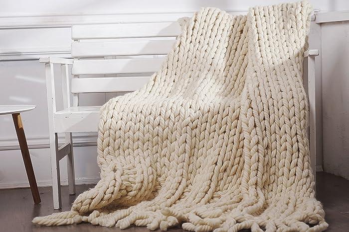 Amazon.com: Chunky wool blanket, Merino wool, Knitted blanket, Color ...