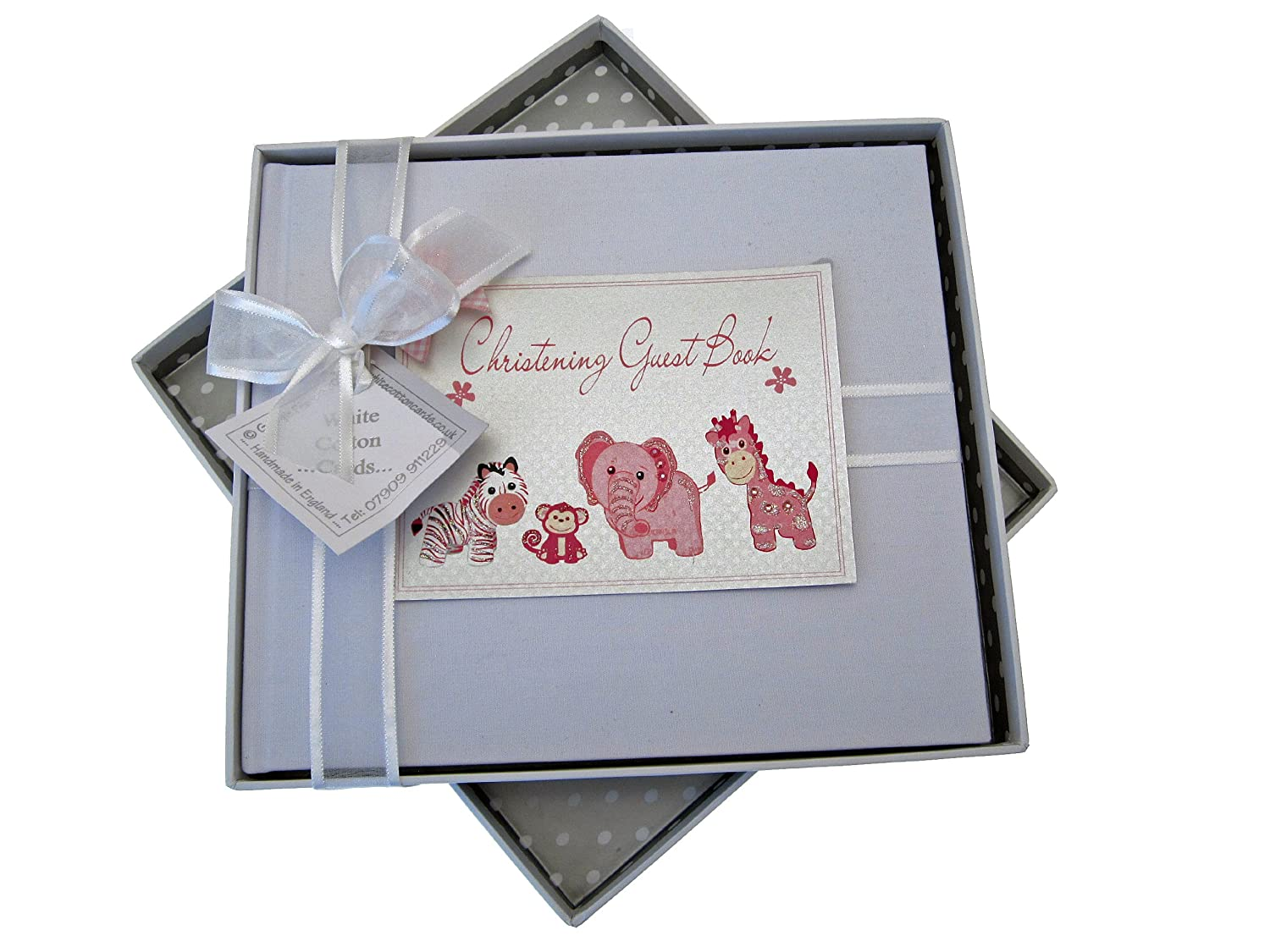 White Cotton Cards Christening Toys Range Guest Book (Pink) CTP4G