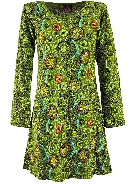 GURU-SHOP, Mini Vestido Hippie Boho Chic, Túnica, Verde, Algodón, Tamaño:L (40), Vestidos Cortos: Amazon.es: Ropa y accesorios