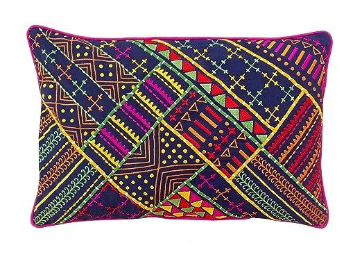 VLiving Cojín bordado, diseño tribal azul Funda de cojín ...