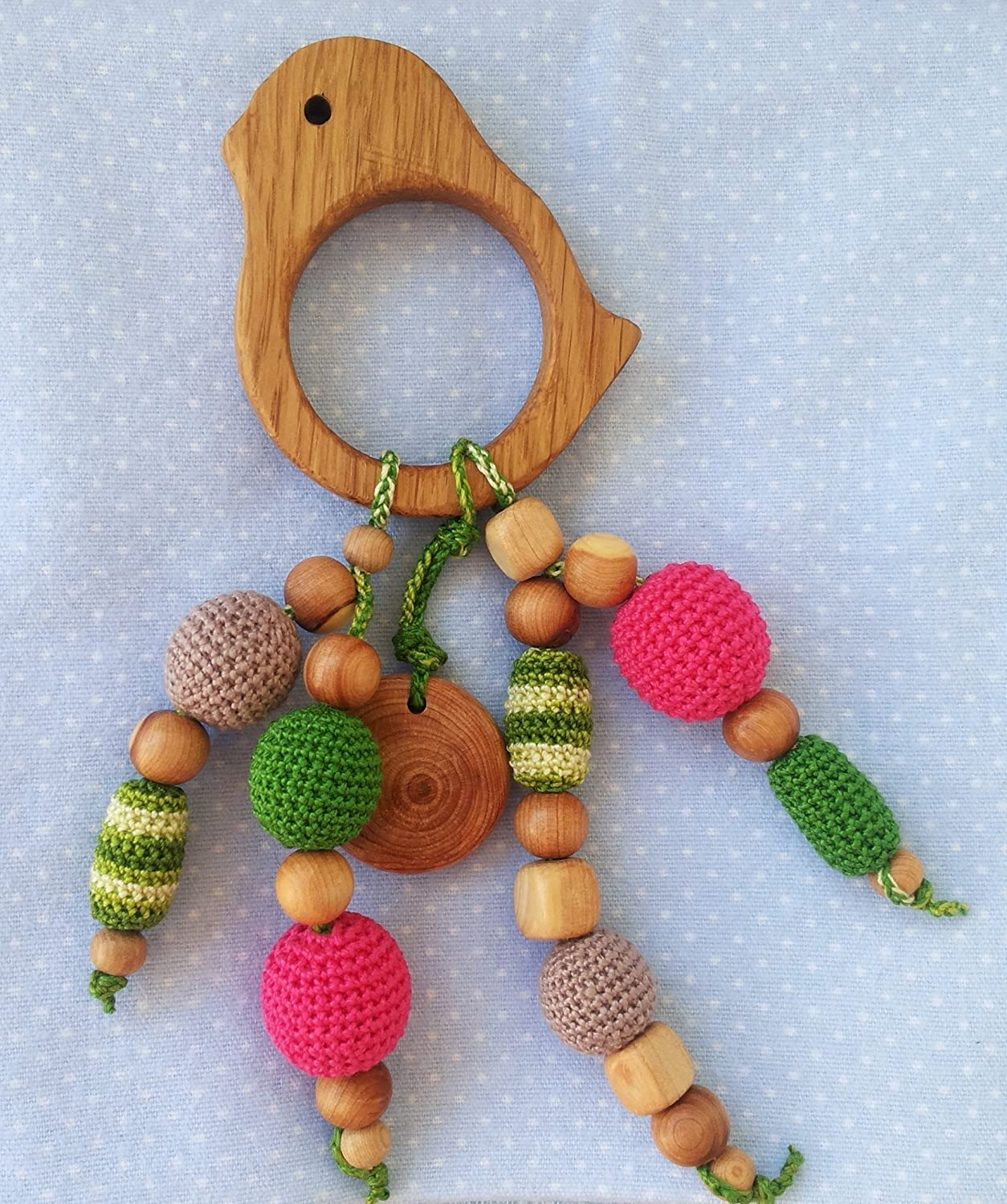 Organic, natural wooden teether - the first toy baby, newborn gift, bird teethers provide a safe teething
