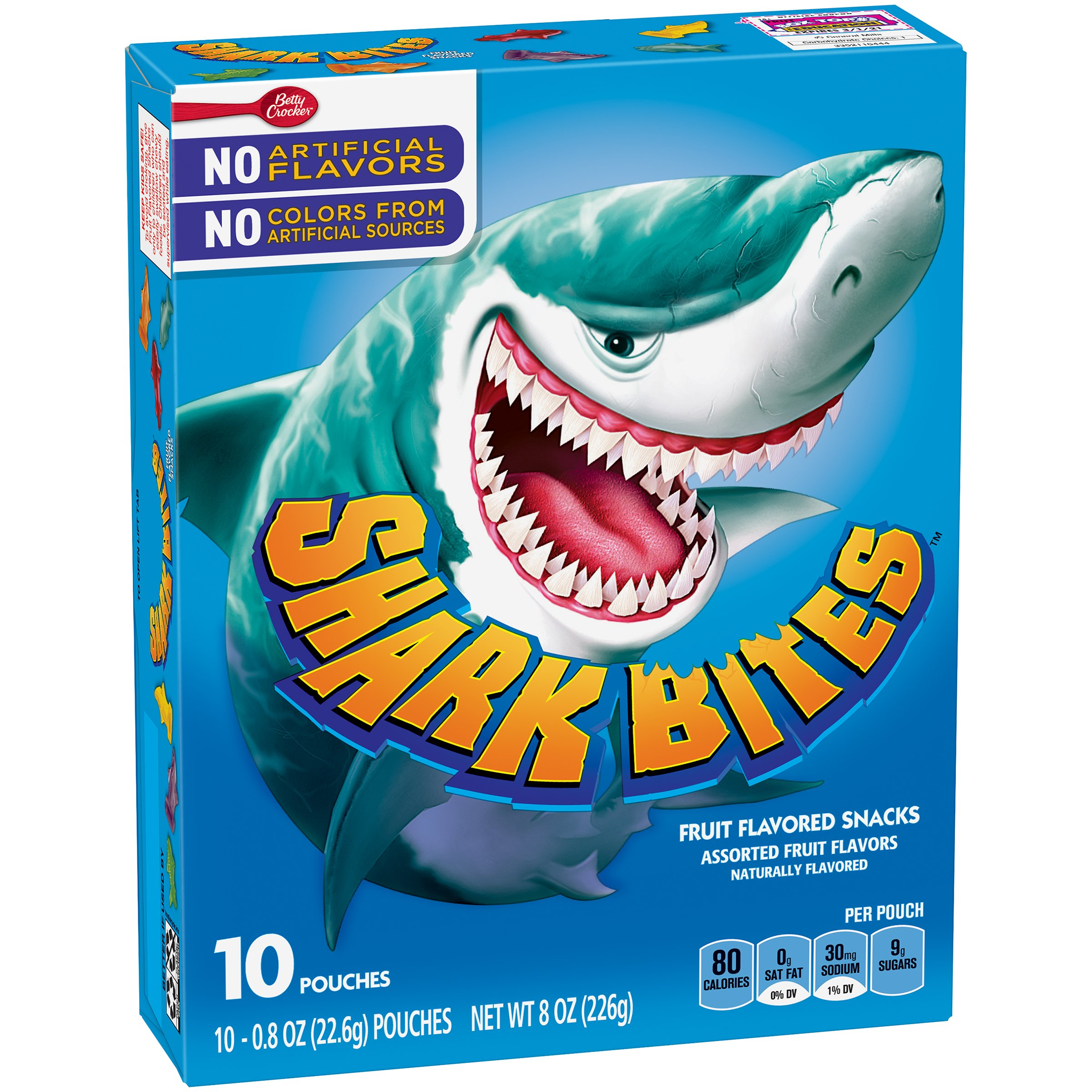 Betty Crocker Fruit Snacks Shark Bites, Assorted Flavors, 10 Count (Pack of 8) by Betty Crocker Fruit Snacks (Image #1)