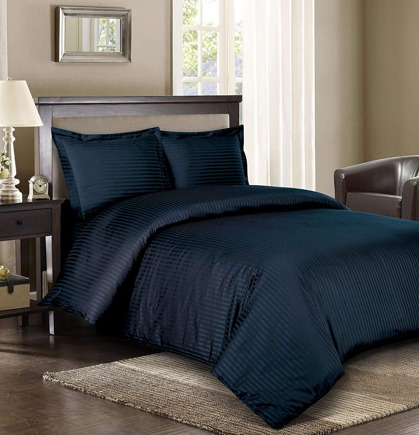 Best Bedding 800 Series Luxury Striped 1 Piece Duvet Cover Extra Soft Egyptian Cotton Soft /& Easy Care,Twin XL Beige