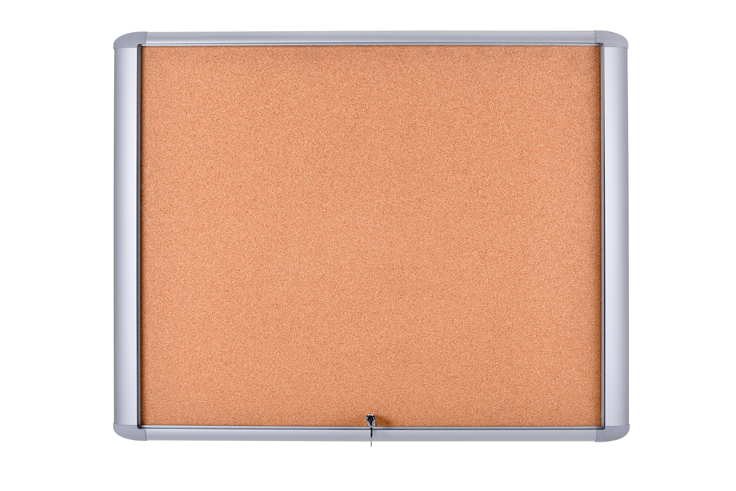 MasterVision Enclosed Bulletin Board Outdoor Water resistant, Cork Surface, 30'' x 26.5'' with Aluminum Frame