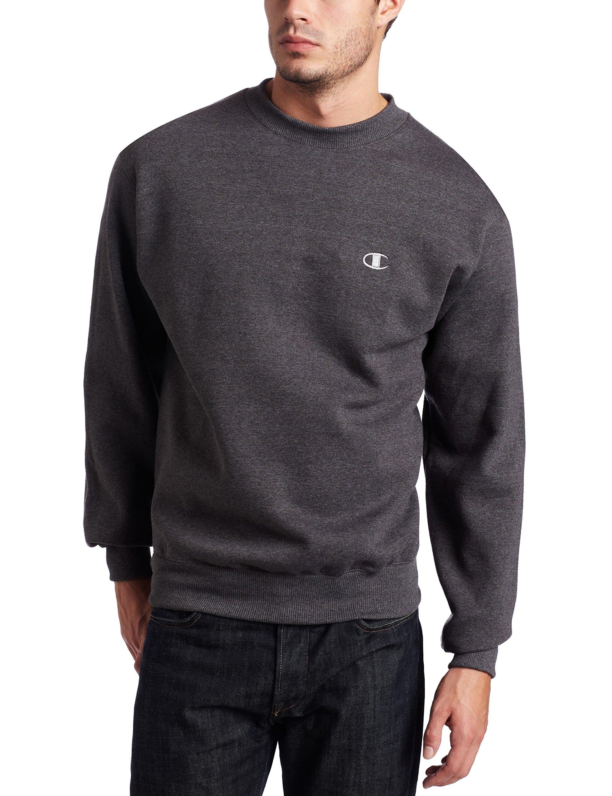 Champion Men's Pullover Eco Fleece Sweatshirt, Granite Heather, Large