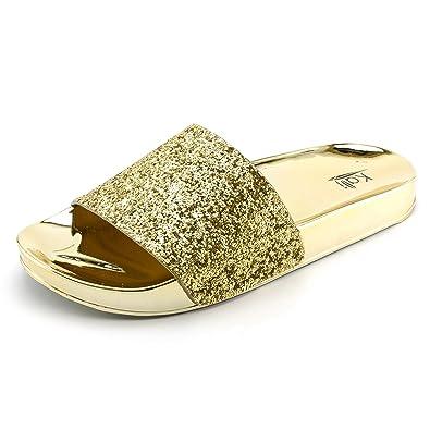66c5050309b5 Kali Womens Wide Single Glitter Band Slip On Slide Sandals (Gold