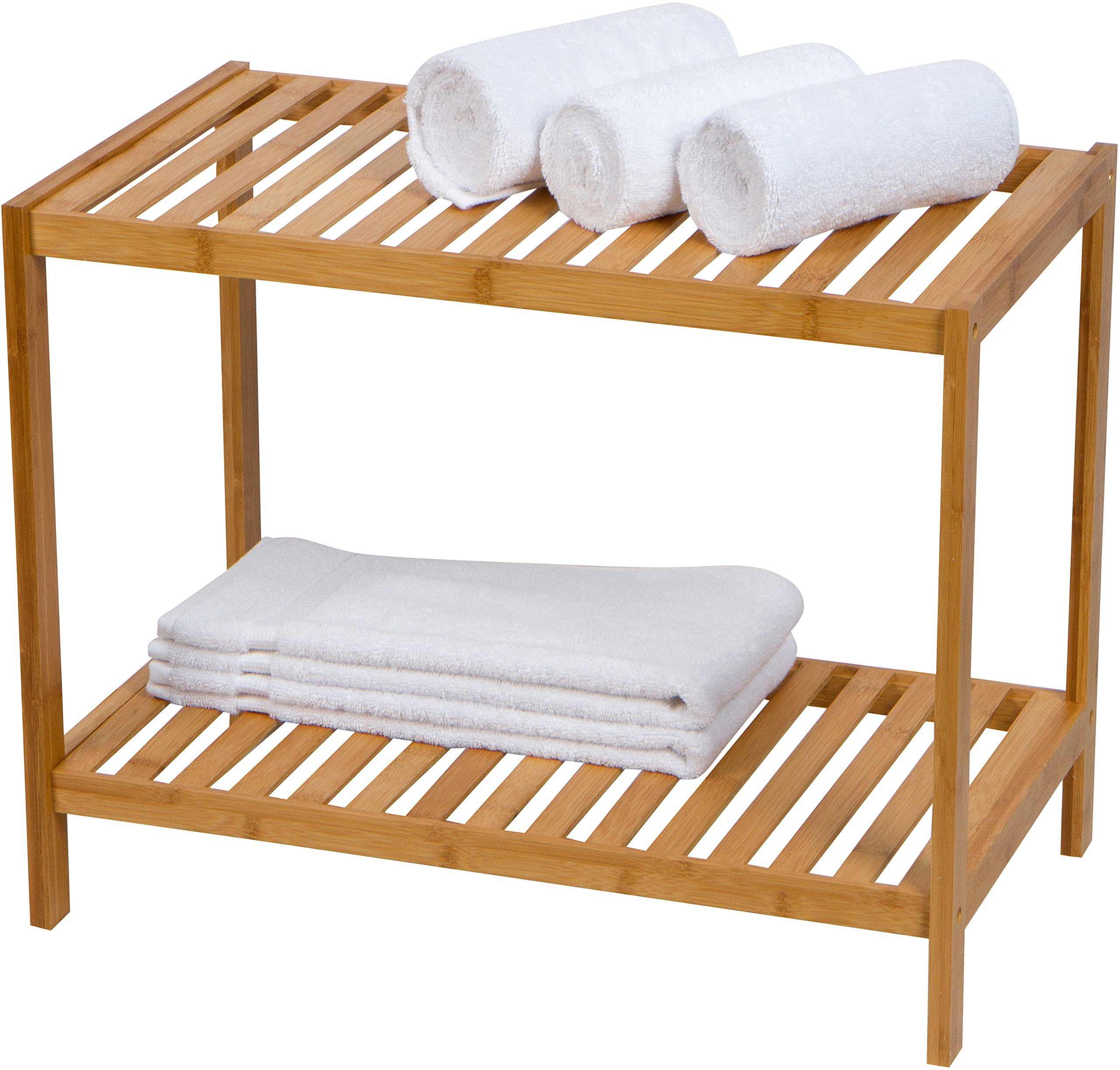 Trademark Innovations 14 Inch Bamboo Wood Stool and Bench For Shower and Bathroom