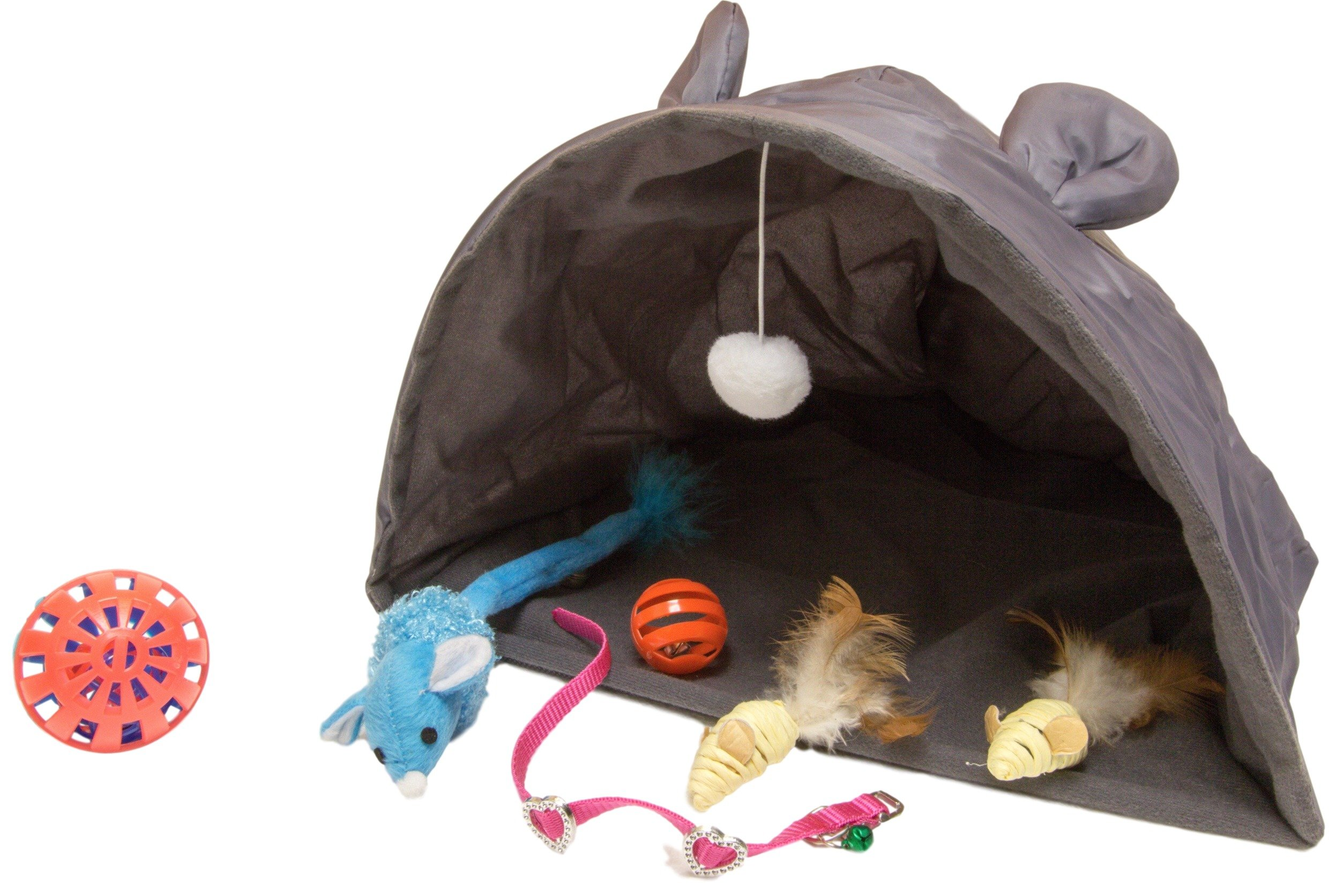 Kitty Playtent And Mouse Toy Bundle PLUS For Cats | Mouse Shaped Play Tent w Hanging Ball Toy | (2) Natural Feather Tail Mice | 2-In-1 Jumbo Bell Ball | Blue Critter w Bell | Small Bell Ball | Collar