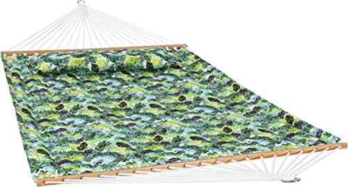Sunnydaze 2-Person Quilted Printed Fabric Spreader Bar Hammock