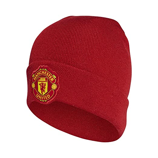 3549166f482102 Amazon.com  Manchester United Adidas 3S Red Woolie Hat 2018 19 ...