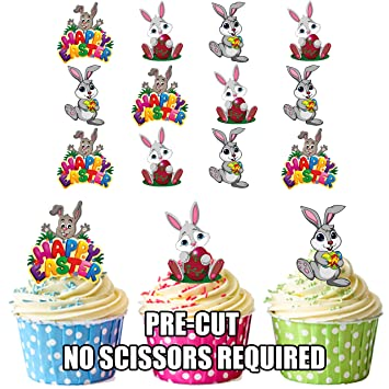 Easter Bunnies Cake Decorations   Edible Stand Up Cup Cake Toppers (pack Of  12
