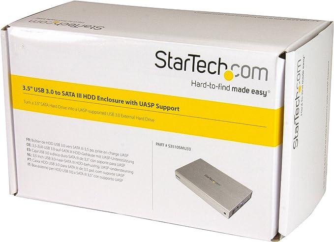 StarTech.com S3510SMU33 - Caja de Disco Duro (USB 3.0, HDD, SATA 3 III de 3.5