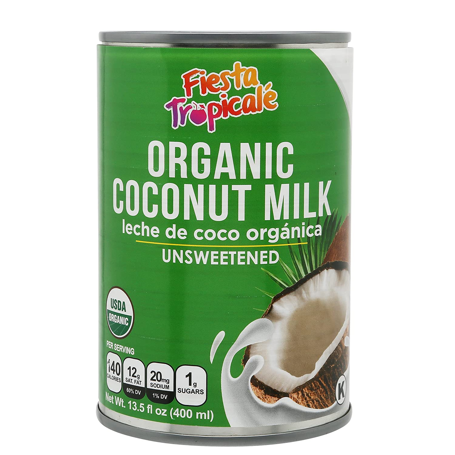 Organic Coconut Milk Unsweetened Full-Fat Pure BPA-Free Canned Dairy Free Milk Alternative, for Vegan, Paleo, Keto Diet, Coffee Creamer, Yogurt - 13.5 oz. Cans (Count of 6) by Fiesta Tropicale