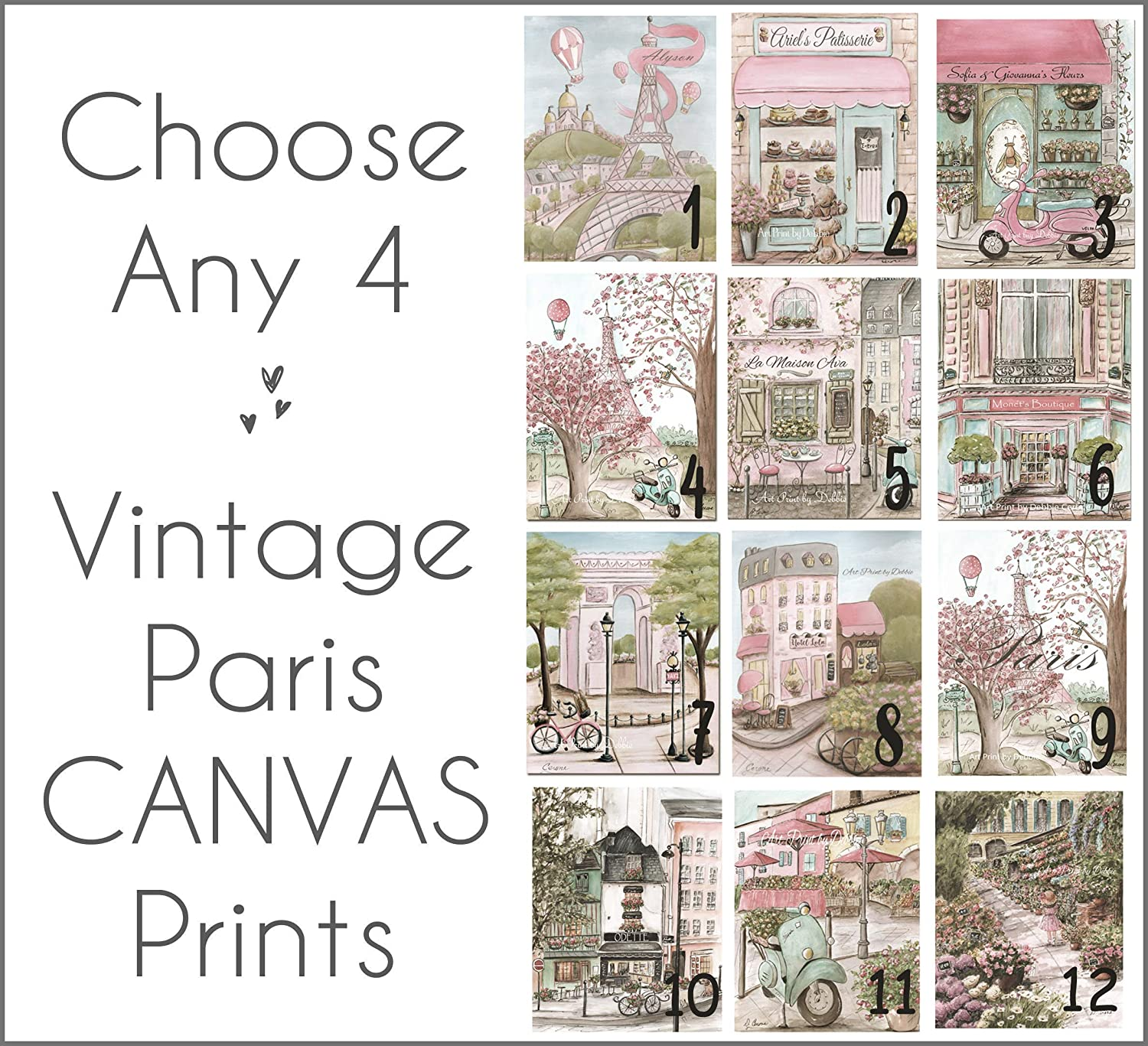 Image of Home and Kitchen Paris Canvases Choose Any 4, Blush Pink Girls Bedroom Travel Theme Decor, Personalize With Custom Name, 1.5' Thick Museum Wrapped, 5 Sizes
