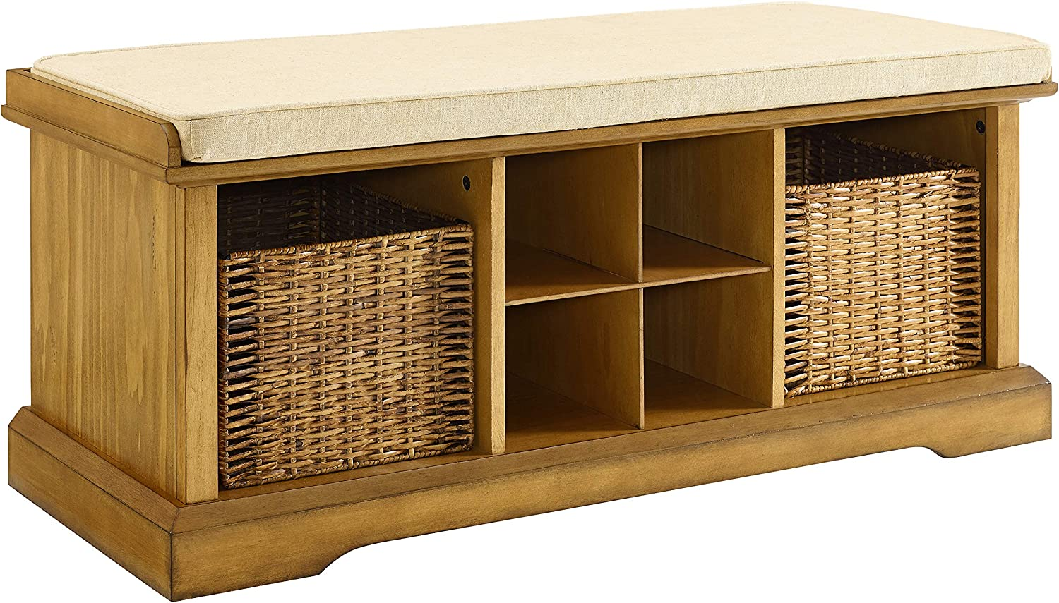 Crosley Furniture Brennan Entryway Storage Bench with Wicker Baskets and Cushion, Natural