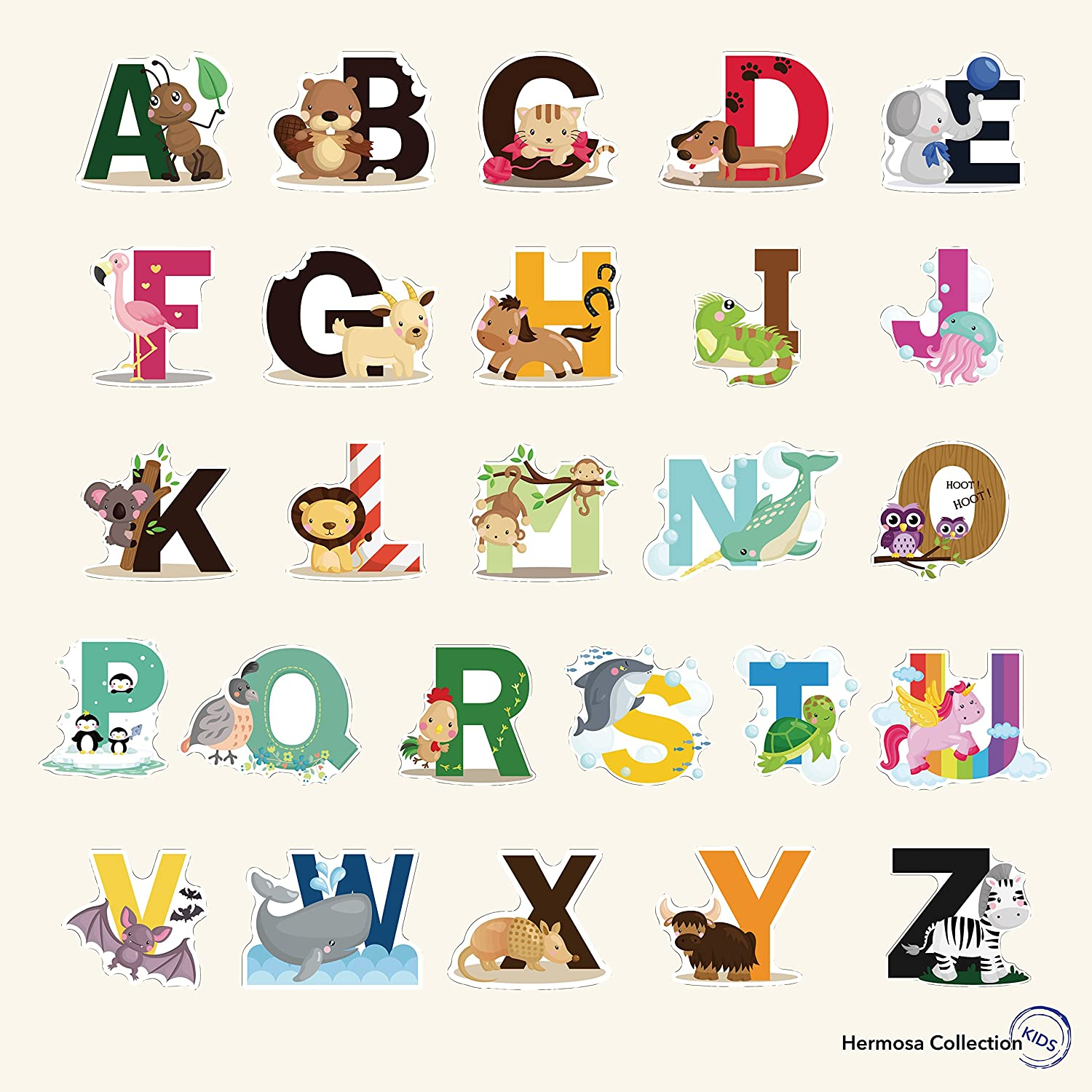 Fun Educational Alphabet with Animals for Baby Nursery and Kids Rooms - Wall Decor Easy Peel Stickers Decals Hermosa Collection