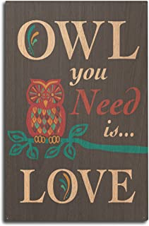 product image for Lantern Press Owl You Need is Love (10x15 Wood Wall Sign, Wall Decor Ready to Hang)