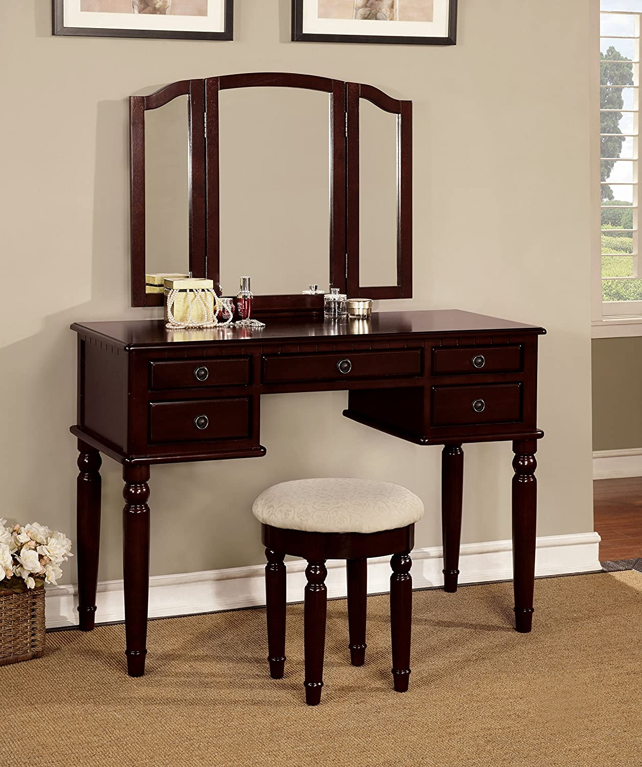 Furniture of America Meredith Vanity Table with Matching Stool - Cherry