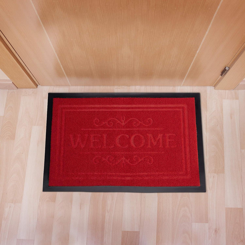 rauer Filz 40 x 60 cm PVC-Matte Boden Relaxdays Fu/ßmatte Welcome grau elegant gemusterte T/ürmatte f/ür Innenbereich