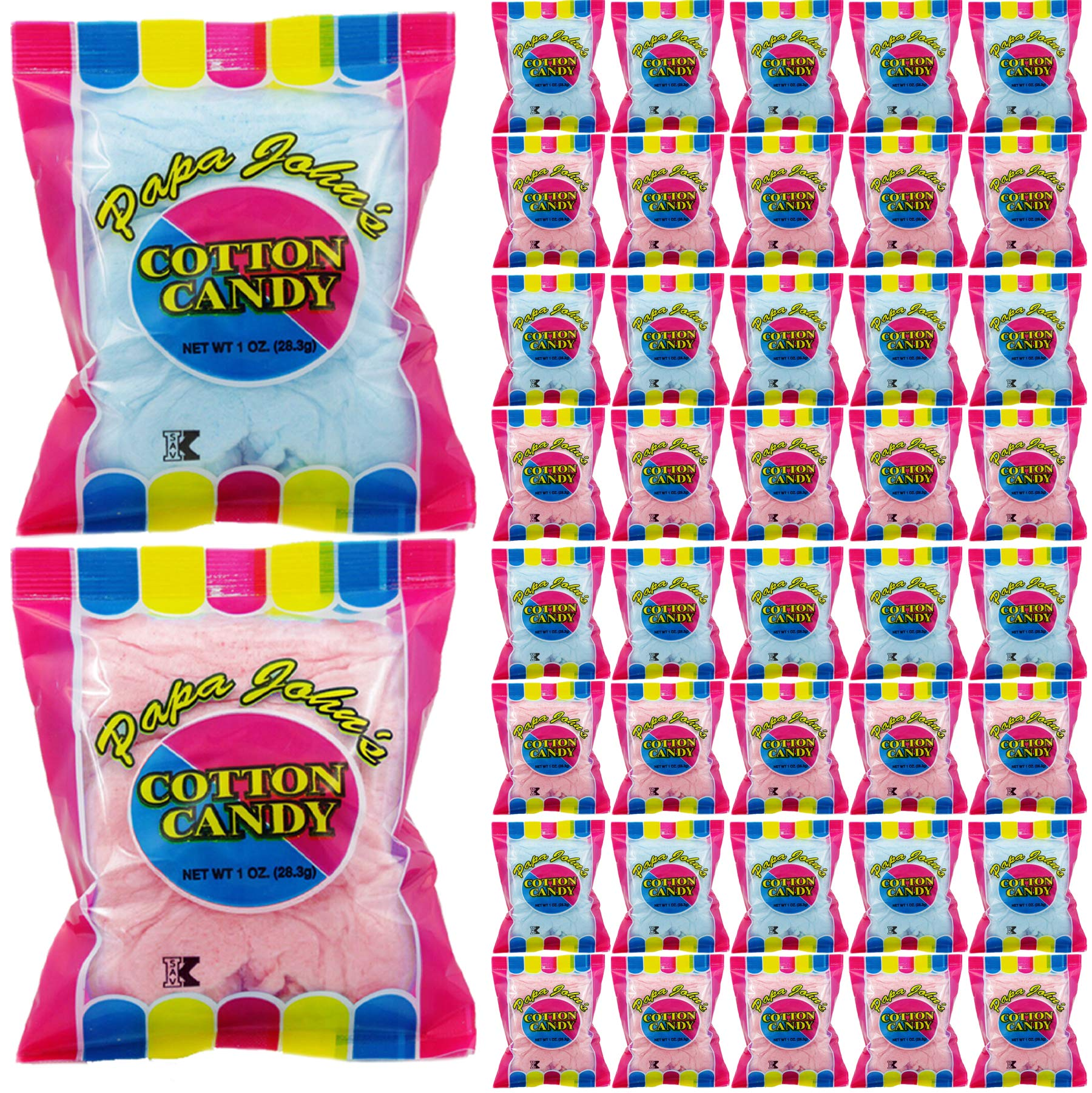 Papa John's Cotton Candy Blue and Pink Party Flavors Supplies Birthday Treats for Kids, Kosher, 1oz Bag (40-Pack) by Papa John's (Image #1)