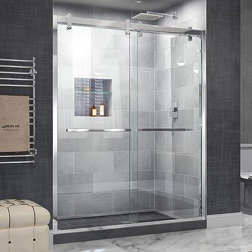 DreamLine Cavalier 56-60 in. W x 77 3 8 in. H Semi-Frameless Bypass Sliding Shower Door in Polished Stainless Steel, SHDR-1560760-08