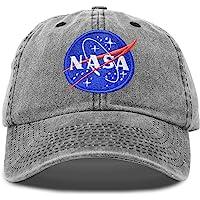 DALIX NASA Hat Pigment Dyed Baseball Cap Premium Insignia (Black and Navy Blue)