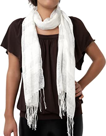 AGB Women's 2 Fer Duet Knit Top with Added Fashion Scarf