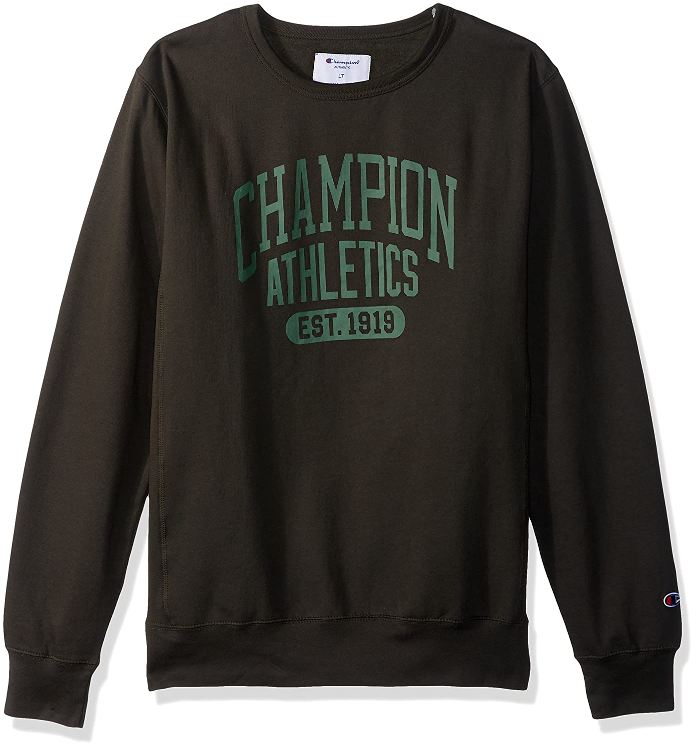 Champion Mens Big and Tall Fleece Ls Crew with Screen Print