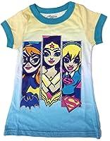 DC Superhero Girls Trio Bat Girl Wonder Woman Super Girl Ringer Tee Shirt Glitter Accents