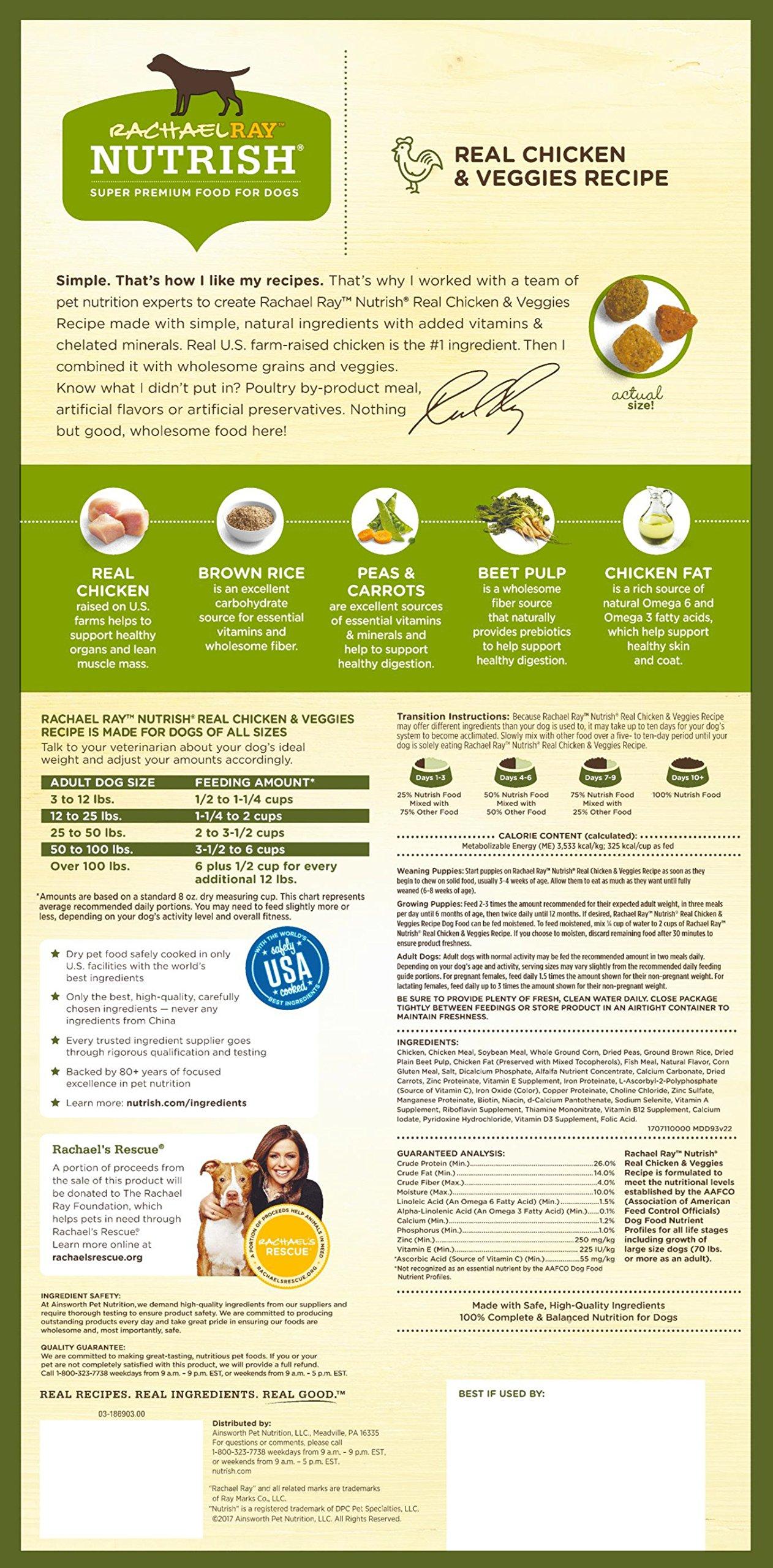 Rachael Ray Nutrish Natural Dry Dog Food, Real Chicken & Veggies Recipe, 28 lbs by Rachael Ray Nutrish (Image #2)