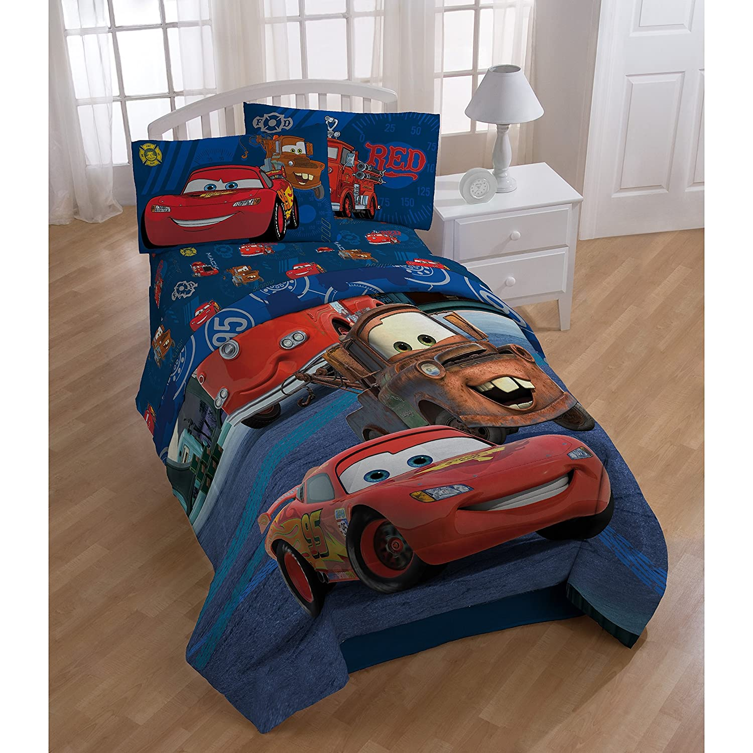 1 Piece Blue Red Disney Cars Hometown Movie Theme Comforter Twin Size, Beautiful Bold & Colorful Animated Cars Print, Fun Graphic Pattern Reversible Bedding, Soft Plush Durable Polyester, For Unisex