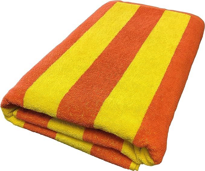 Tuscan Yellow and White Stripe Super Light Turkish Towel for Beach Bath Travel