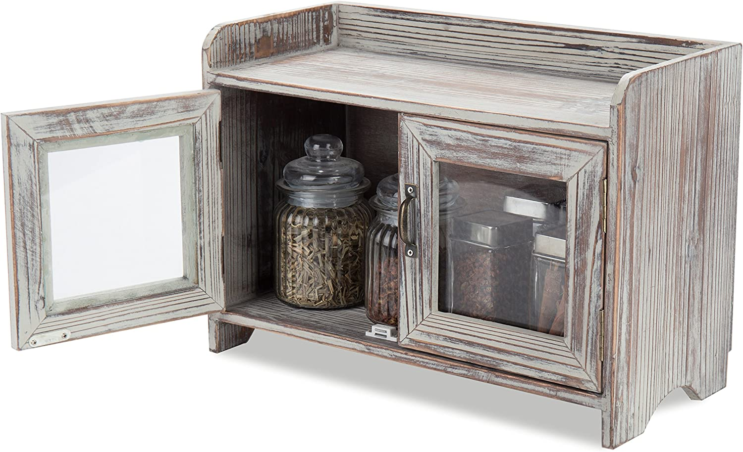 Amazon Com Mygift Rustic Wood Kitchen Bathroom Countertop Cabinet W Glass Windows Kitchen Dining